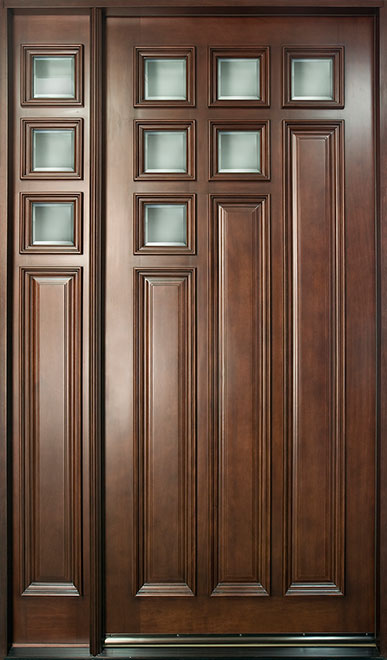 Modern Mahogany Wood Front Door - Single with 1 Sidelite - DB-975W 1SL CST