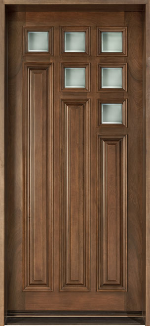 Modern Cherry Wood Front Door - Single - DB-975 CST