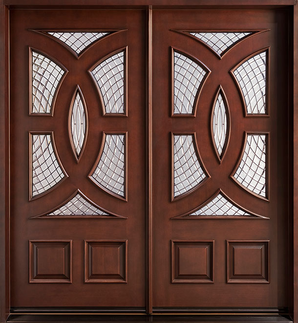 Modern Mahogany Wood Front Door - Double  - DB-985 CST