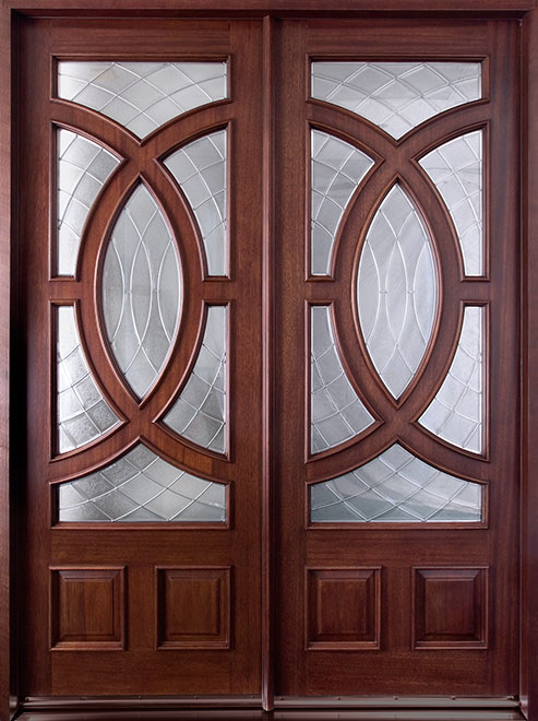 Modern Mahogany Wood Front Door - Double - DB-985 DD CST