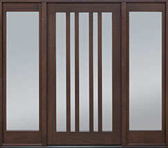 Modern Mahogany Wood Front Door  - GD-606PW 2SL CST