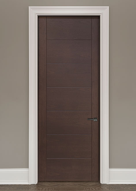 Modern Walnut (Regular Cut) Wood Interior Door - Single - DBIM-8007