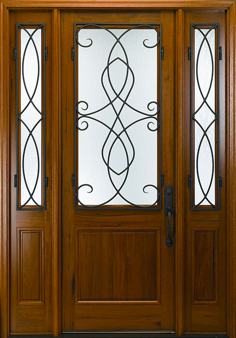 Classic Andean Walnut Wood Front Door - Single with 2 Sidelites - DB-M-768FC 2SL CST