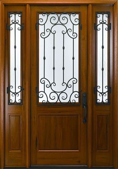 Classic Andean Walnut Wood Front Door - Single with 2 Sidelites - DB-M-768FM 2SL CST