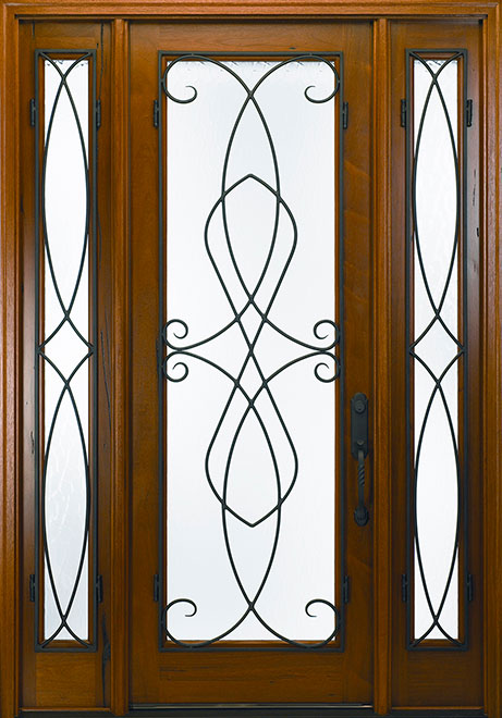 Classic Andean Walnut Wood Front Door - Single with 2 Sidelites - DB-M-788FC 2SL CST