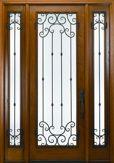 Classic Andean Walnut Wood Front Door - Single with 2 Sidelites - DB-M-788FM 2SL CST