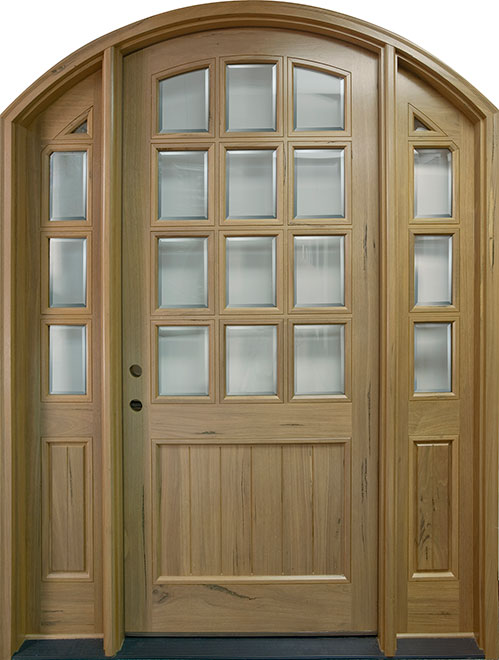 Classic Andean Walnut Wood Front Door - Single with 2 Sidelites - DB-M-801 2SL CST