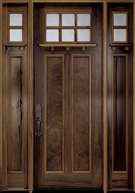 Classic Andean Walnut Wood Front Door - Single with 2 Sidelites - DB-M-A748-36 2SL CST