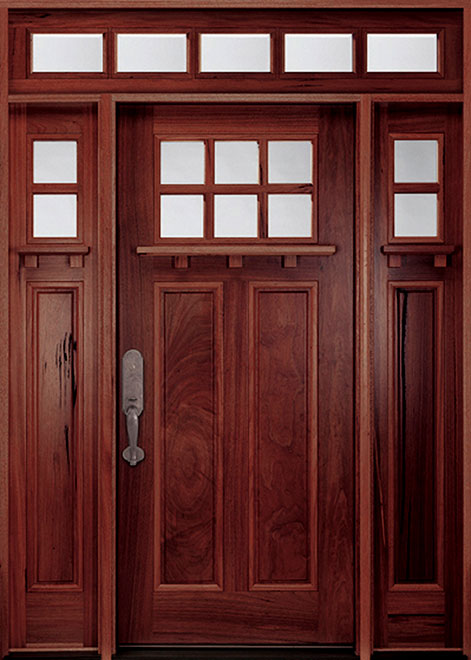 Classic Andean Walnut Wood Front Door - Single with 2 Sidelites - DB-M-A74 2SL CST