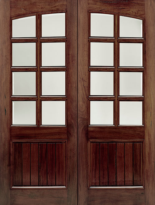Classic Andean Walnut Wood Front Door - Double - DB-M-A81-GP DD CST