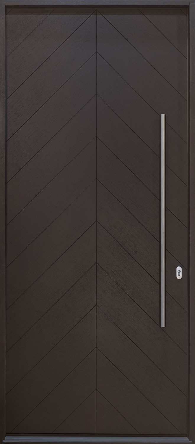 Modern Oak Wood Veneer Wood Front Door  - GD-EMD-715W CST