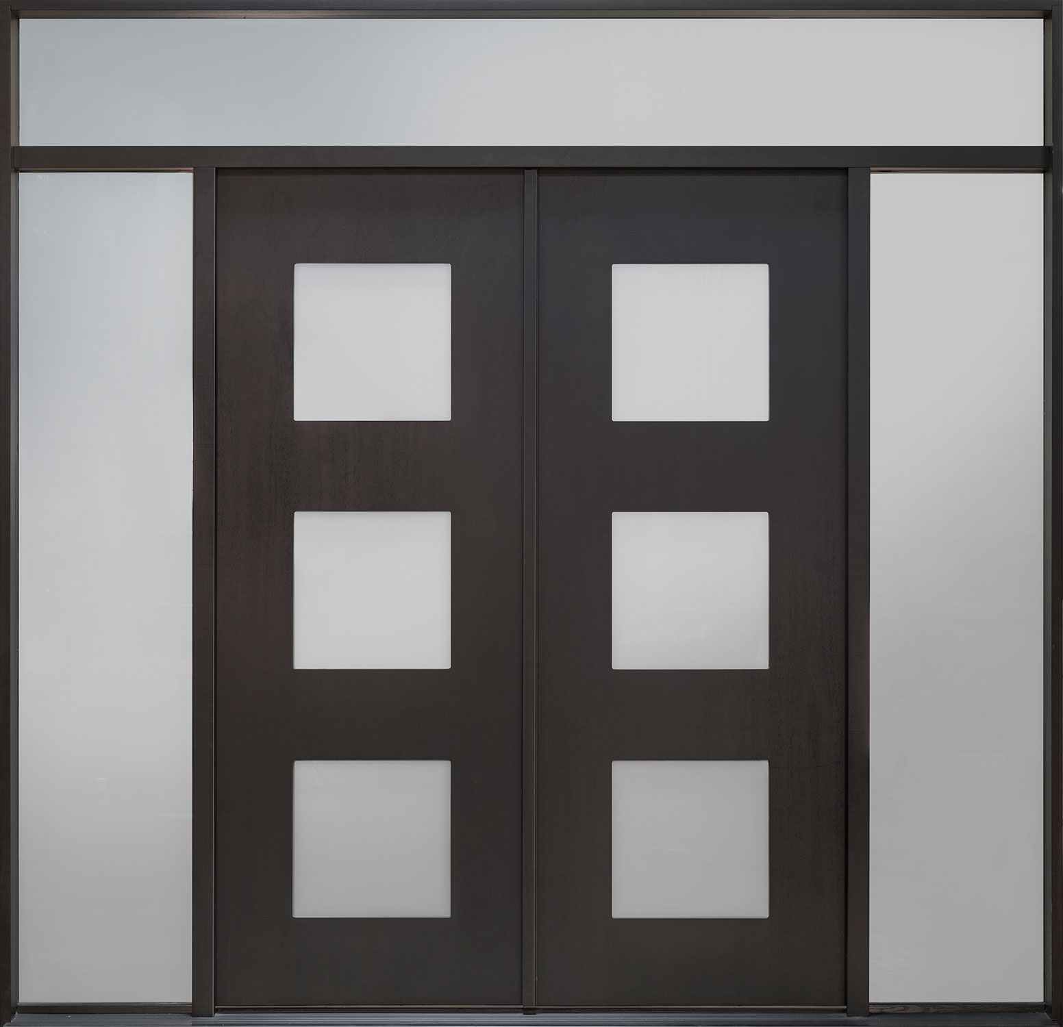 Wood Front Door - Single with 2 Sidelites w/ Transom