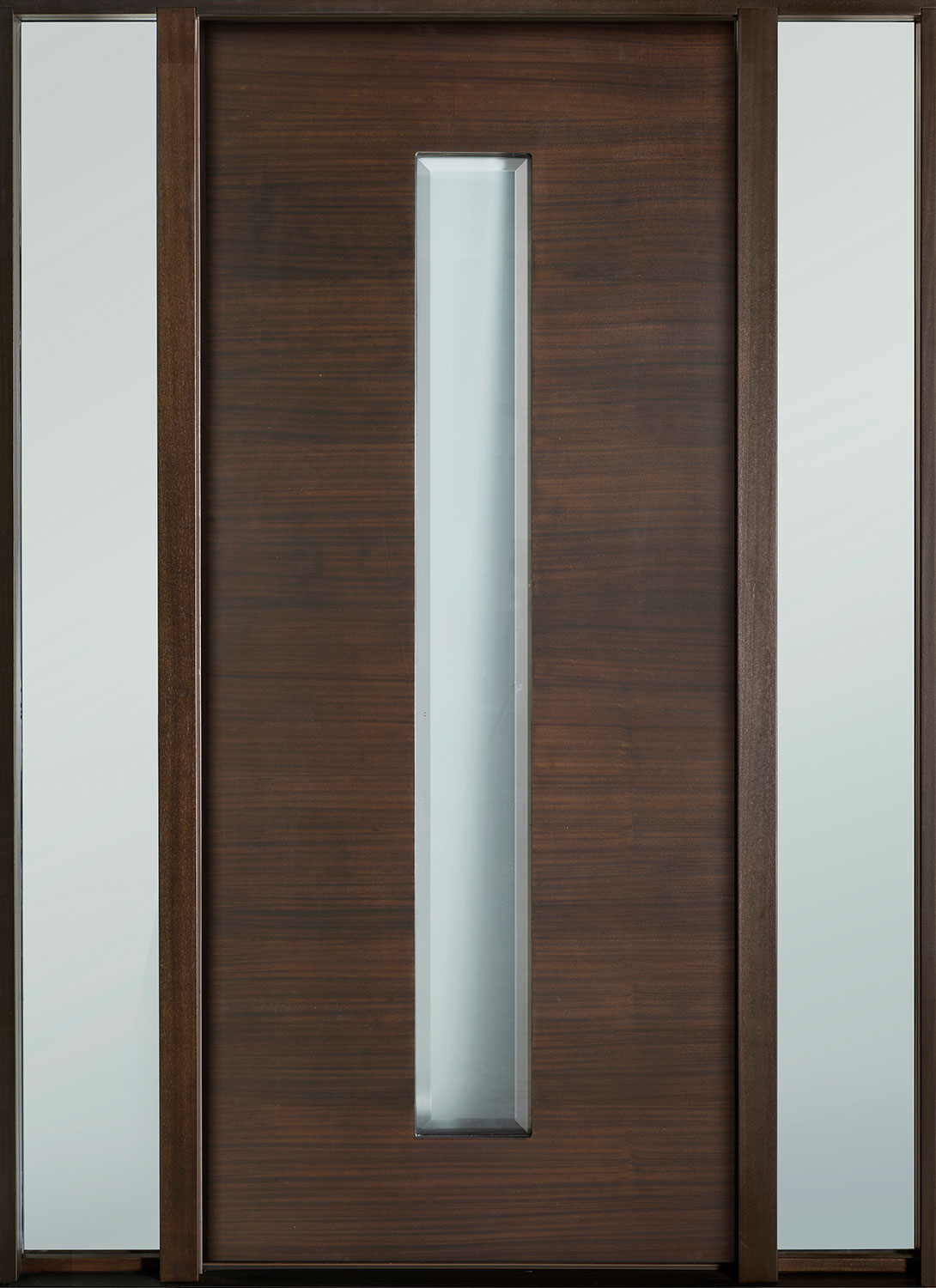 Modern Euro Collection Mahogany Wood Veneer Wood Front Door  - GD-EMD-D4W 2SL