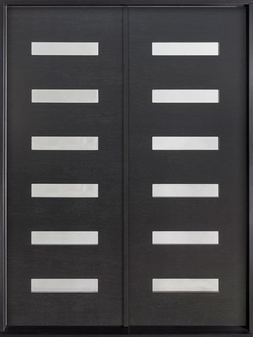 Modern Mahogany Wood Veneer Wood Front Door - Double - DB-EMD 004 DD CST