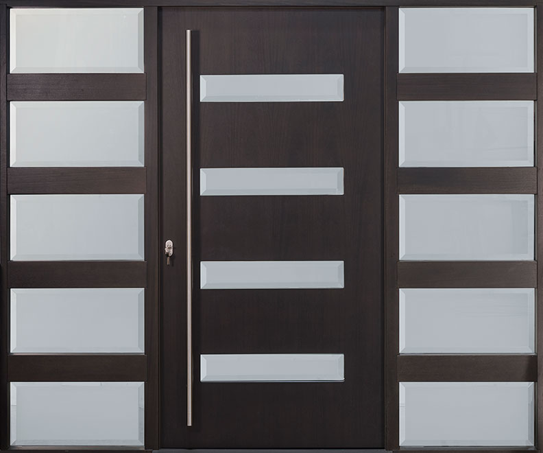 Modern Mahogany Wood Veneer Wood Front Door - Single with 2 Sidelites - DB-EMD-004W 2SL CST
