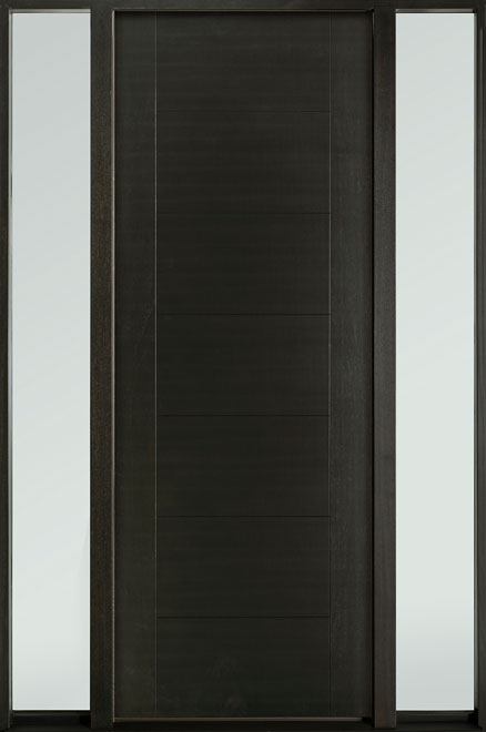Modern Euro Collection Mahogany Wood Veneer Wood Entry Door - Single with 2 Sidelites - DB-EMD-711T 2SL