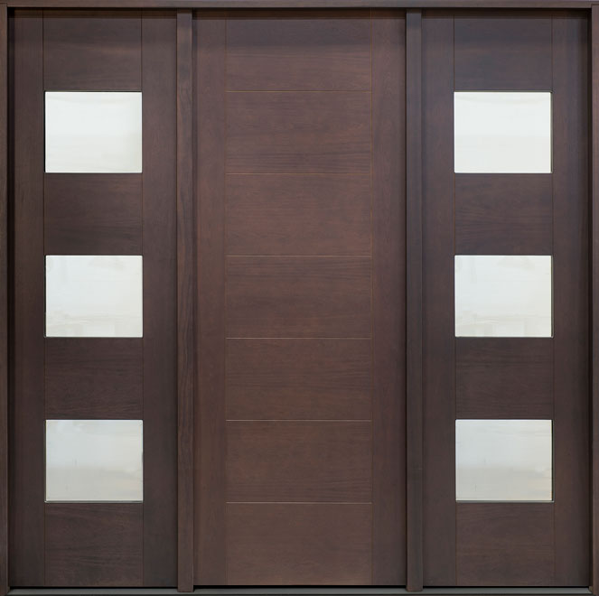 Modern Mahogany Wood Veneer Wood Front Door - Single with 2 Sidelites - DB-EMD-711T 2SL CST