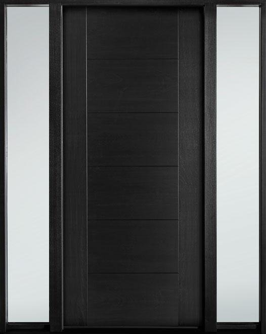 Modern Euro Collection Mahogany Wood Veneer Wood Entry Door - Single with 2 Sidelites - DB-EMD-711 2SL