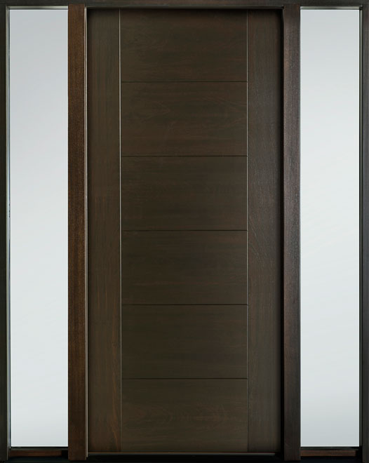 Modern Euro Collection Mahogany Wood Veneer Wood Entry Door - Single with 2 Sidelites - DB-EMD-711 2SL