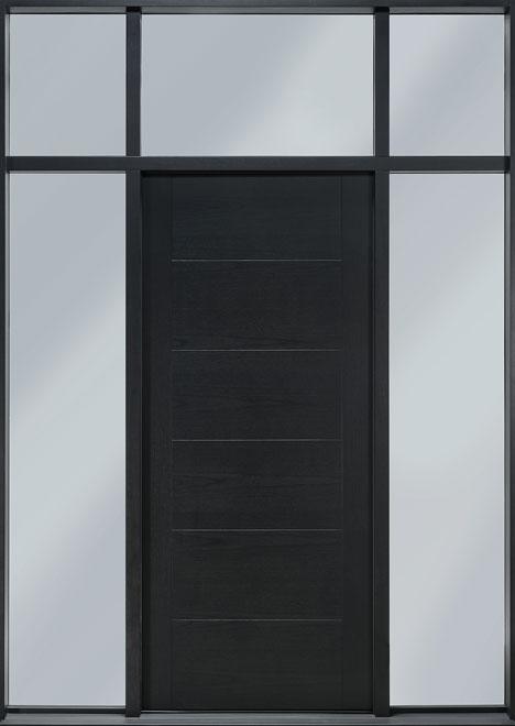 Modern Mahogany Wood Veneer Wood Front Door - Single with 2 Sidelites w/ Transom - DB-EMD-711T 2SL TR CST