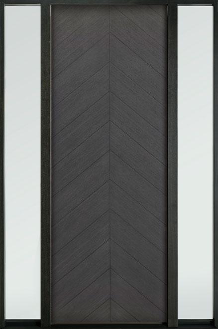 Modern Euro Collection Oak Wood Veneer Wood Entry Door - Single with 2 Sidelites - DB-EMD-715T 2SL