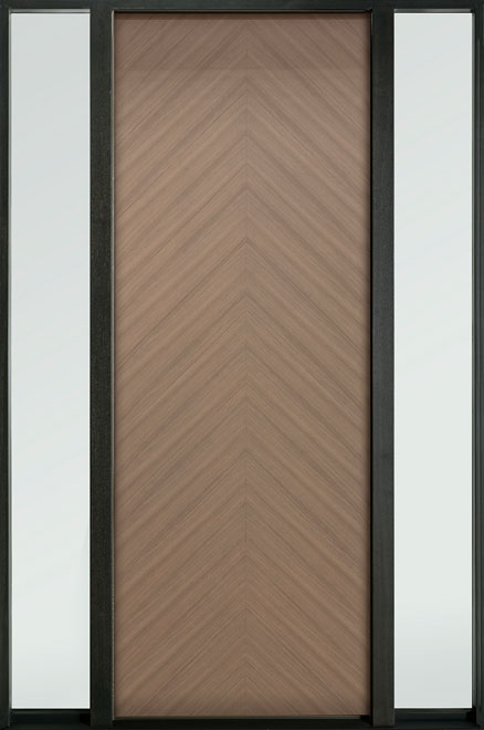 Modern Euro Collection Oak Wood Veneer Wood Entry Door - Single with 2 Sidelites - DB-EMD-715T 2SL