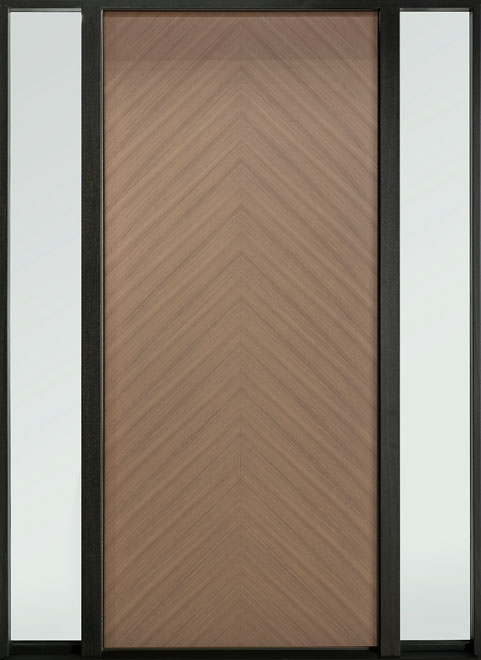 Modern Euro Collection Oak Wood Veneer Wood Entry Door - Single with 2 Sidelites - DB-EMD-715W 2SL