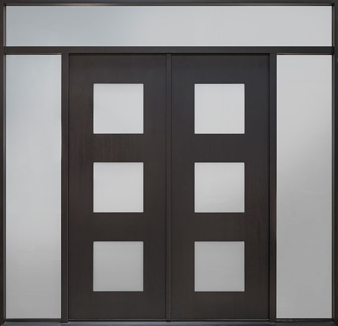 Modern Mahogany Wood Veneer Wood Front Door - Single with 2 Sidelites w/ Transom - DB-EMD-823-DD 2SL TR CST