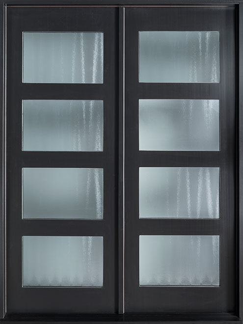 Modern Mahogany Wood Veneer Wood Front Door - Double - DB-EMD 823 DD CST