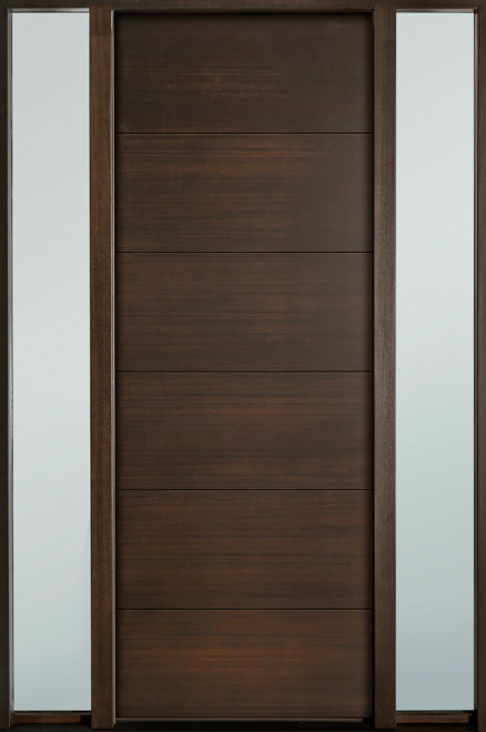 Modern Euro Collection Mahogany Wood Veneer Wood Entry Door - Single with 2 Sidelites - DB-EMD-A4T 2SL