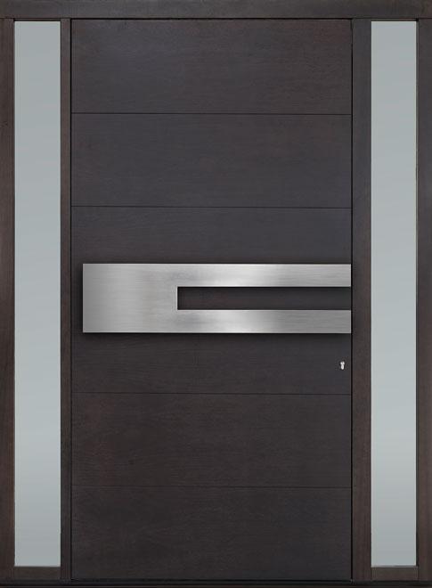 Modern Mahogany Wood Veneer Wood Front Door - Single with 2 Sidelites - DB-EMD-A4W 2SL CST