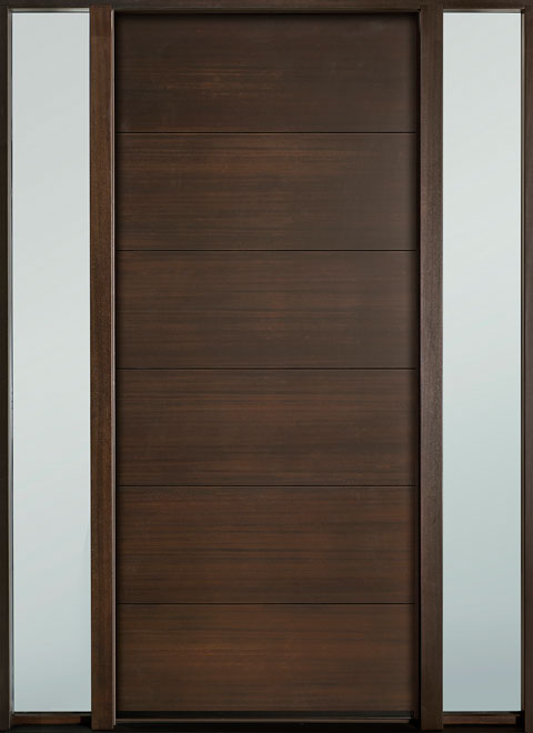 Modern Euro Collection Mahogany Wood Veneer Wood Entry Door - Single with 2 Sidelites - DB-EMD-A4W 2SL