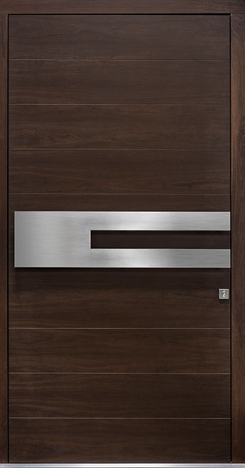 Modern Mahogany Wood Veneer Wood Front Door - Single - DB-EMD-A4W CST
