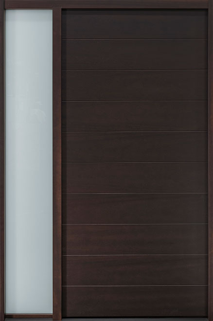 Modern Mahogany Wood Veneer Wood Front Door - Single with 1 Sidelite - DB-EMD-A4 1SL CST