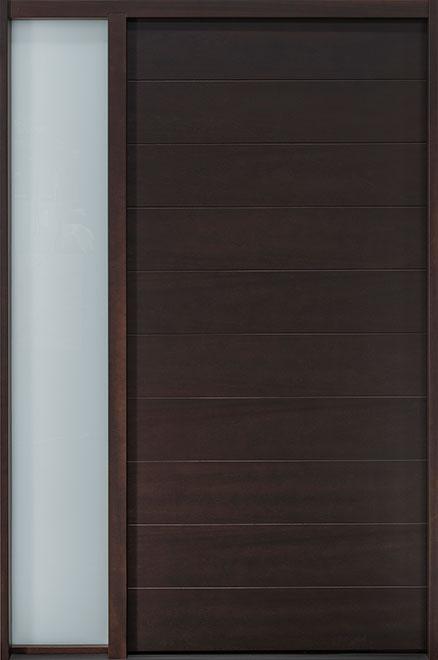 Modern Mahogany Wood Veneer Wood Front Door - Single with 1 Sidelite - DB-EMD-A4 1SL TR CST
