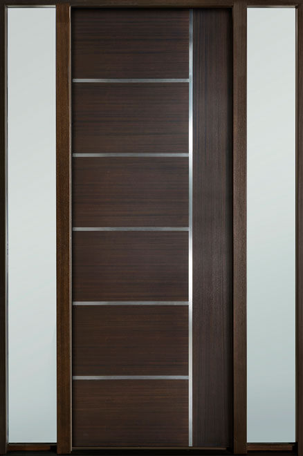 Modern Euro Collection Mahogany Wood Veneer Wood Entry Door - Single with 2 Sidelites - DB-EMD-B1T 2SL