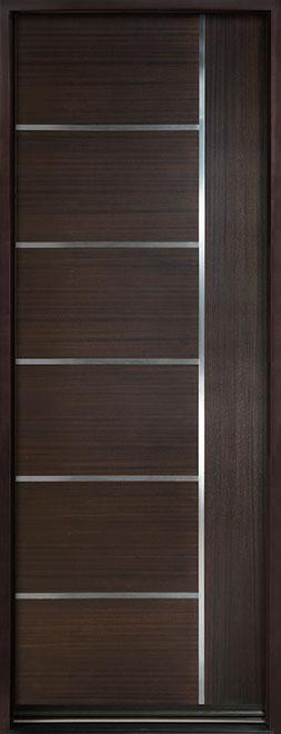 Modern Euro Collection Mahogany Wood Veneer Wood Entry Door - Single - DB-EMD-B1T