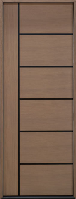 Modern Euro Collection Rift Cut Oak Wood Veneer Wood Entry Door - Single - DB-EMD-B1T