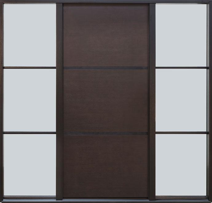 Modern Mahogany Wood Veneer Wood Front Door - Single with 2 Sidelites - DB-EMD-B1W 2SL CST