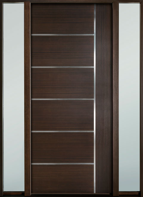 Modern Euro Collection Mahogany Wood Veneer Wood Entry Door - Single with 2 Sidelites - DB-EMD-B1W 2SL