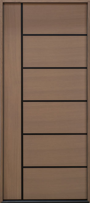 Modern Euro Collection Rift Cut Oak Wood Veneer Wood Entry Door - Single - DB-EMD-B1W