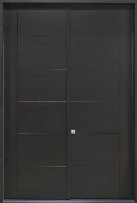 Modern Mahogany Veneer Wood Front Door - Double - DB-EMD B2T DD CST