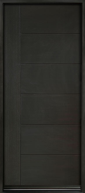 Modern Euro Collection Mahogany Wood Veneer Wood Entry Door - Single - DB-EMD-B2W