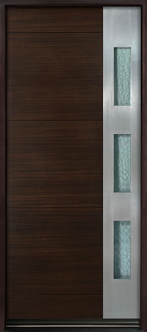 Modern Euro Collection Mahogany Wood Veneer Wood Entry Door - Single - DB-EMD-C1W