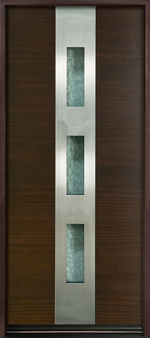 Modern Euro Collection Mahogany Wood Veneer Wood Entry Door - Single - DB-EMD-C2W
