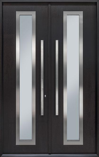 Modern Mahogany Wood Veneer Wood Front Door - Double - DB-EMD-C3 DD CST