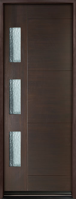 Modern Euro Collection Mahogany Wood Veneer Wood Entry Door - Single - DB-EMD-C3T