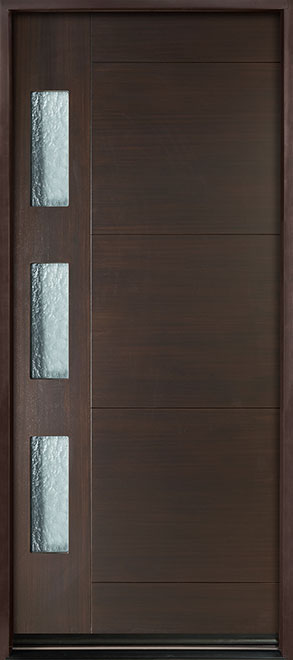 Modern Euro Collection Mahogany Wood Veneer Wood Entry Door - Single - DB-EMD-C3W