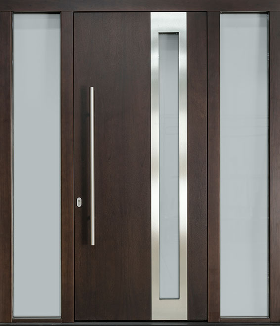 Modern Mahogany Wood Veneer Wood Front Door - Single with 2 Sidelites - DB-EMD-C3 2SL CST