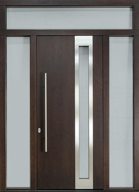 Modern Mahogany Wood Veneer Wood Front Door - Single with 2 Sidelites - DB-EMD-C3 2SL TR CST